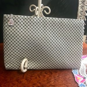 "Vintage ""Whiting/ Davis"" Gray Metallic Mesh Clutch"
